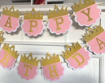 Pink and Gold, Happy Birthday, Bunting Banner, Princess.