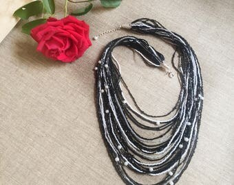 1960s Black & White Necklace Small Beaded Necklace Vintage Multi Strand Necklace STUNNING Necklace Layered necklace Evening Necklace Retro