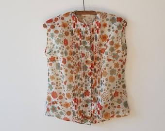 Shirt / sleeveless / floral / orange / vintage / made in France / MOJETTE
