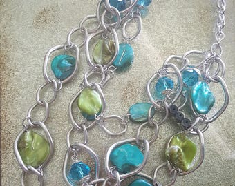 Silver Chain necklace blue and green shells and blue beads Stunning.