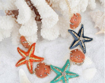 On Sale - Assorted Seashell Statement Necklace