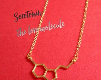 Gold Serotonin Necklace, Serotonin Necklace, Serotonin Molecule Necklace, Serotonin Molecule Jewelry, Cute Molecule Necklace, Gold Serotonin