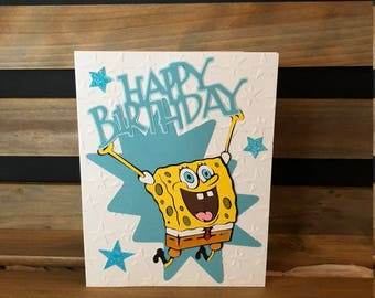 Cute Spongebob Happy Birthday Card, Die Cut Spongebob, White Embossed Star Background, Blue Matting