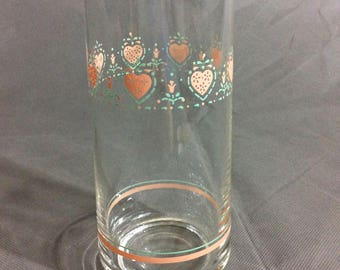 "Vintage Corelle by Corning Forever Yours Water Drinking Glass Pink Heart Theme 5 3/4"" high"