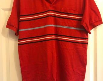 Vintage Par Four Red Striped Polo M