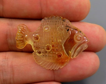 Exclusive 2.50 grams Lemon Natural Genuine BALTIC AMBER Sculpture Hand carved Figurine FISH