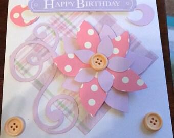 Hand Made Birthday Card - Purple