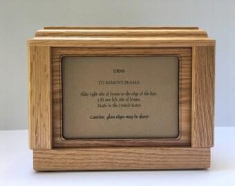 Pet Urn, Dog Urn, Cat Urn, Oak Pet Urn, Pet Urn with picture frame,