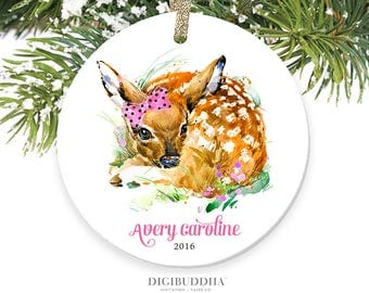 Baby's First Christmas Ornament Deer Ornament Doe Ornament Christmas Ornament for Baby Personalized Ornament Fawn Ornament Deer Baby Gifts