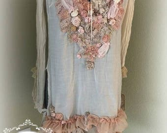 Unique Art To Wear Tunic Shabby Chic Gypsy Lace in Shades of Peach by Tattered Magnolia