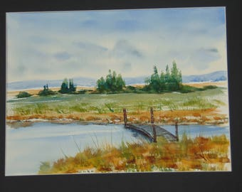 Sunny Meadow original watercolor painting 16 x 20 including mat