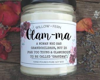 Glam Ma Scented Candle, Grandma to be, Grandma Gift, Gift for Mom, Glamma Gift, Glam ma gift, gift for Glam Ma, Pregnancy reveal gift