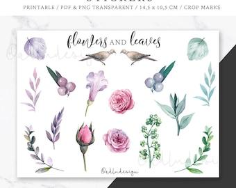 Flowers & Leaves Stickers Printable / Bullet Journal Stickers / Floral Stickers / Planner Stickers / Botanical Watercolors Stickers / PDF