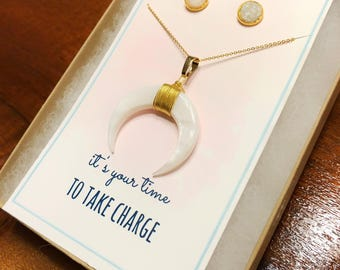 Encouragement gift, Dainty double horn necklace, promotion gift for her, new job gift for her, time to take charge, Graduation gift for her