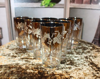 Set of 8 Silver Fade Highball Glasses