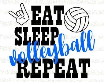 Eat Sleep Volleyball Repeat SVG Clipart Cut Files Silhouette Cameo Svg for Cricut and Vinyl File cutting Digital cuts file DXF Png Pdf Eps