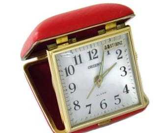 Vintage Orient Travel Wind-up Alarm Clock Foldable with Glow in the Dark Hands Made in Japan