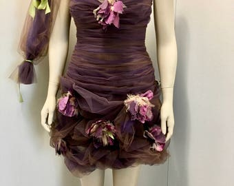 Frayed Flowers Pouf Dress purple and brown tulle Swarovski jeweled bodice