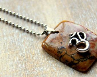 Necklace Jasper cobra and om