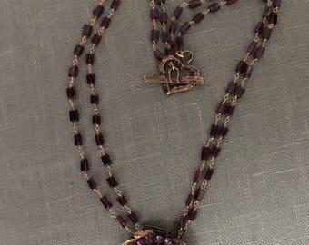 Antique vintage gold lavendar dress clip necklace with garnet rosary