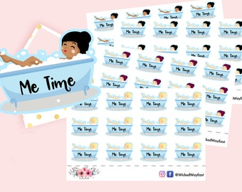Girl Stickers, Relax, Me Time Stickers, Bath Stickers, Planner Sticker