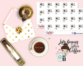 Coffee Girl Planner Sticker, Coffee is Life Stickers, I Love Coffee Planner Stickers, Scrapbook Stickers, Planner Accessories - 15 Stickers