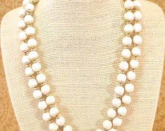 Vintage white double stranded necklace