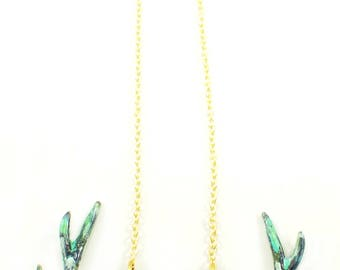 Patina Stag Skull necklace in brass