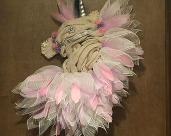 Unicorn wreath, door wreath, fantasy, whimsical, wall decor, feathers, nursery, bohemian
