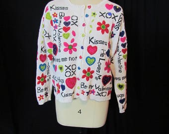 Valentines Sweater, small/med, Marisa Christina, cotton/ramie sweater, heart sweater, Valentine's Day Sweater, cardigan, button front, 18/17