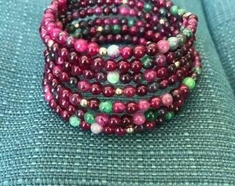 tourmaline,wrap bracelets, beads, gold beads
