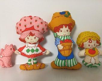 Four Strawberry Shortcake Dolls / 1980's Vintage Cut and Sew / 80's Cloth Dolls