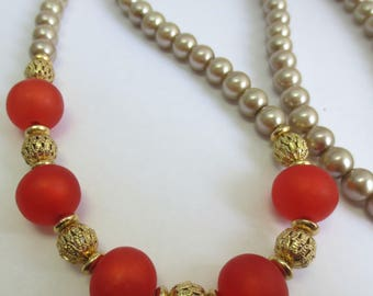 Pearl and Resin Beaded Necklace
