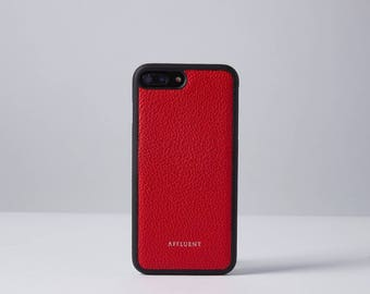 Grained ITALIAN LEATHER iPhone Case Red