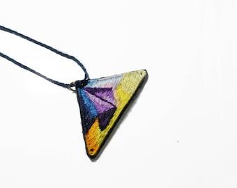 Pyramid pendant, Pyramid necklace, Pyramid embroidery necklace, handmade embroidery necklayce, Necklace with pyramid smbol, pendant