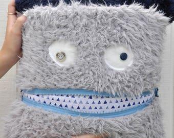 Gray Monster Pillow & Blanket