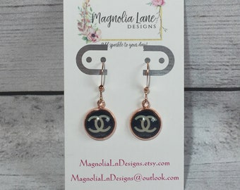 Dark Blue Chanel Inspired Rose Gold Dangles