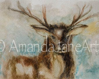 Stag, deer, painting, picture, watercolour,print, abstract, nature, animal, art, gift