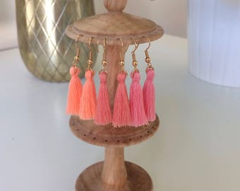 Mini Tassel Earrings in shades of Orange, Peach and Pink Coral - Handmade UK
