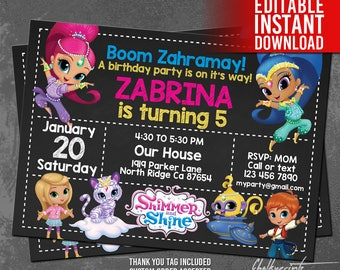 Shimmer and Shine Invitation Instant Download, Shimmer and Shine Birthday, Shimmer Shine Editable Invites, Shimmer Shine Thank You Tag Free