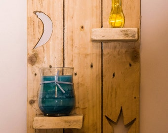 Bespoke rustic hand made reclaimed Pallet wood candle shelf