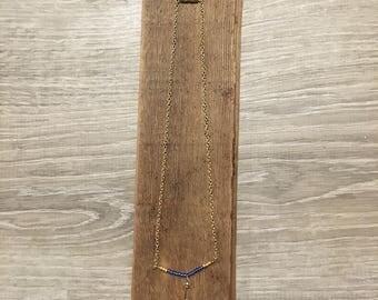 Beaded Choker Necklace - Beaded Bar Necklace - Bar Necklace - Key Charm Necklace - Key Choker