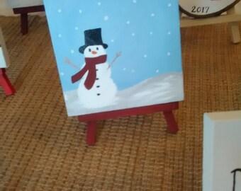 Snowman mini canvas with maroon easel