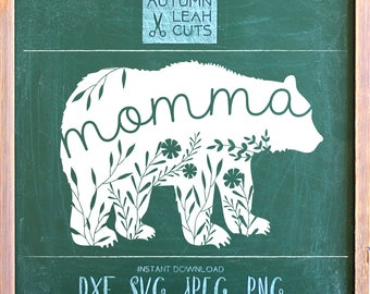 Momma Bear -- SVG, PNG, Jpeg, DXF cut file for Silhouette, Cricut -- Instant Download Clipart - Printable Art