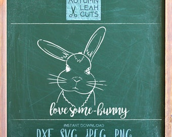 Love Some-bunny Hand Drawn Bunny Svg -- SVG, PNG, Jpeg, DXF cut file for Silhouette, Cricut -- Instant Download Clipart - Rabbit Clipart