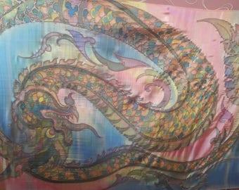 Handpainted natural batik scarf