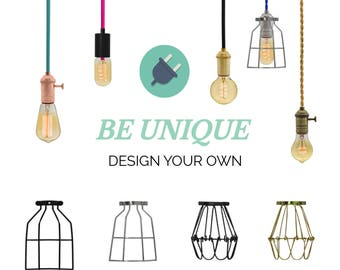 Plug in Lamp Cage Pendant Light  -  Design Your Own - Any Custom Lengths and Colors