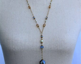 Blue Crystal with pearl Tassel