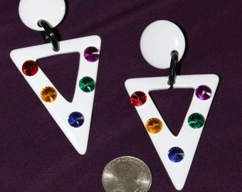 Black and white triangle shaped earrings, vintage 1990's, with rhinestones!