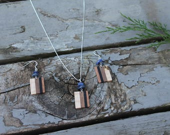 Wood Necklace Minimalist Jewelry Handmade Sodalite Necklace Stone Wooden Jewelry Gift for Her Natural Wood Necklace Jewelry Unique Handmade